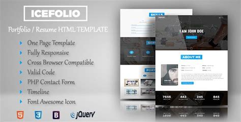 html themes nulled themeforest icefolio personal portfolio html5 template