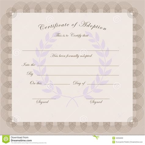 certificate of adoption stock vector image 43256699