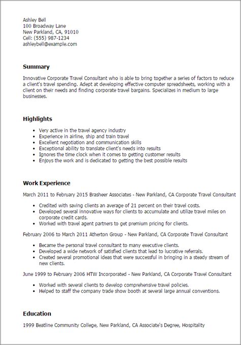 Travel Resume by 1 Corporate Travel Consultant Resume Templates Try Them