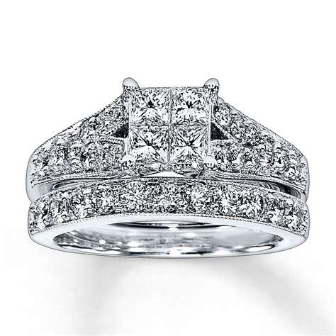 jared bridal set 1 1 2 ct tw 14k white gold
