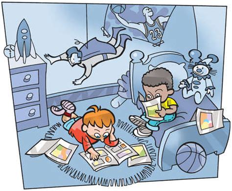 comic bedroom stock illustration two boys reading comic books in a bedroom