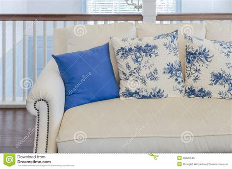 Luxury Living Room Pillows Blue Pillow On Beige Sofa In Luxury Living Room Stock