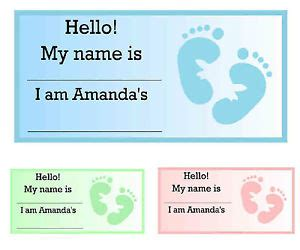 printable name tags for baby shower baby shower name tags ebay