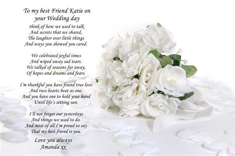 PERSONALISED POEM TO SISTER OR BEST FRIEND ON WEDDING DAY
