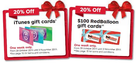 Big W Gift Cards Australia - expired 20 off all itunes 100 red balloon gift cards this week gift cards on sale