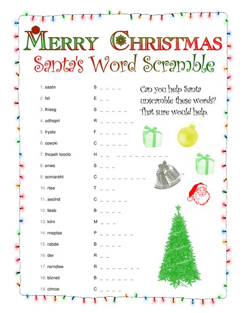 printable unscramble christmas games puzzle north pole news