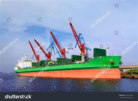 the green ship red ship red green stripes port riga stock photo 324743444 shutterstock