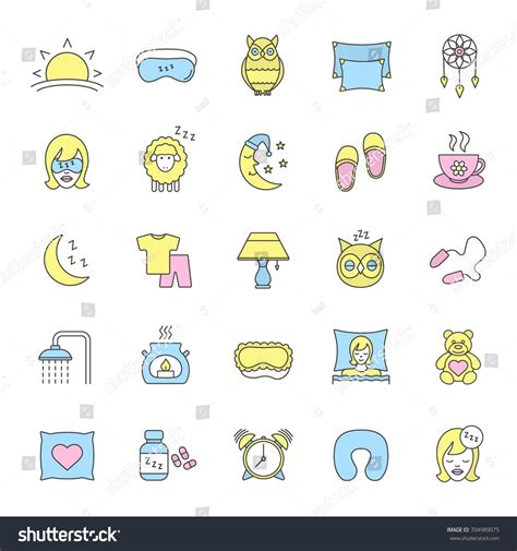 sleep accessories sleeping accessories color icons set pillows stock vector