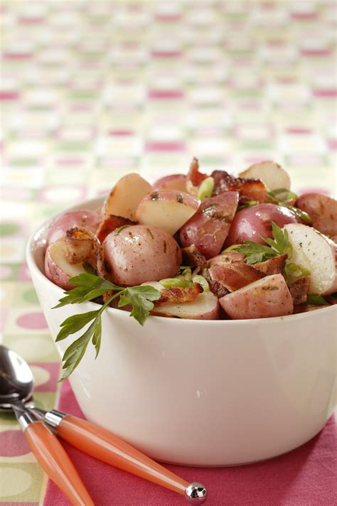 grilled new potato salad with bacon and scallions pork