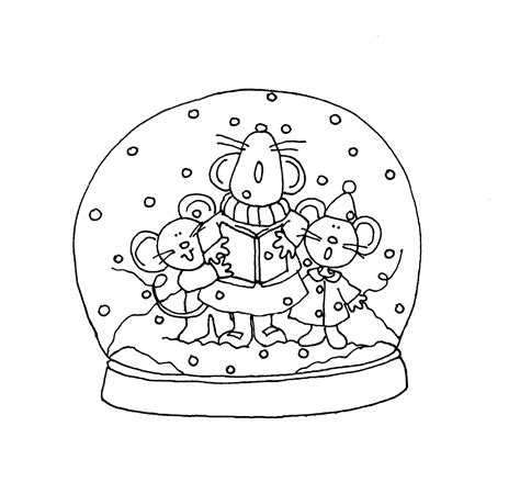 coloring page snow globe free dearie dolls digi sts singing mousies snowglobe