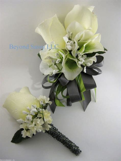 Corsage Black Grey green gray wedding prom flower wrist pin on corsage boutonniere set ebay