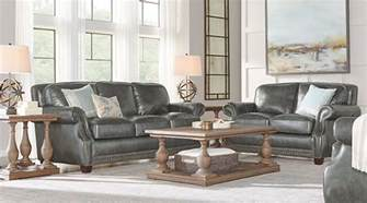 frankford charcoal 2 pc leather living room leather