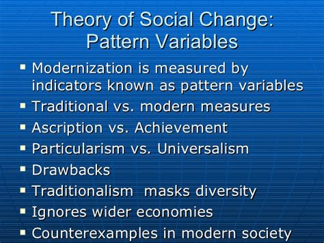 parsons pattern variables modern traditional societies globalization culture change the future