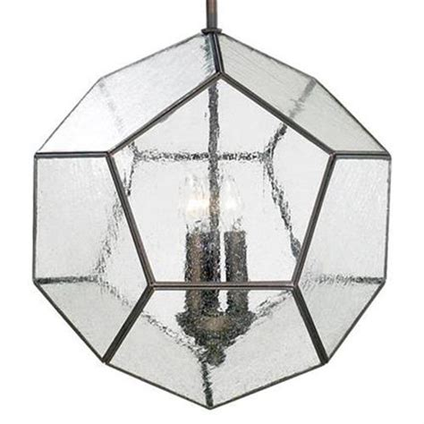 seeded glass pendant light fixtures antique bronze modern seeded glass pentagon pendant light