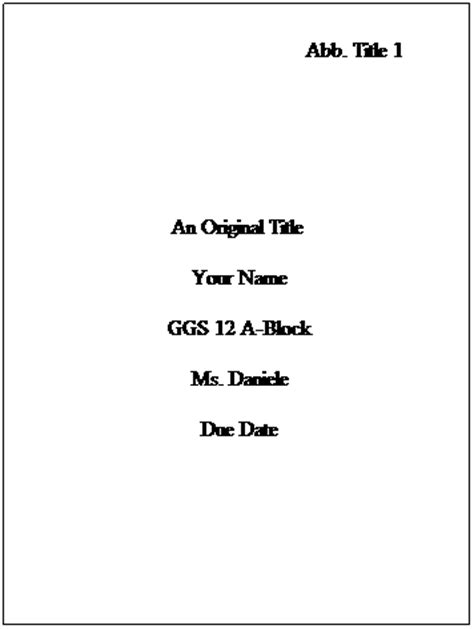 Apa Format Essay Title Page by Apa Format