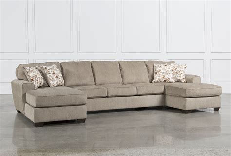 chaise lounge sectionals sectional sofa with 2 chaises poundex f7139 waffle 2
