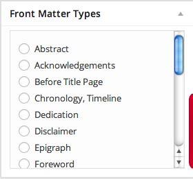 book layout front matter front matter pressbooks userguide