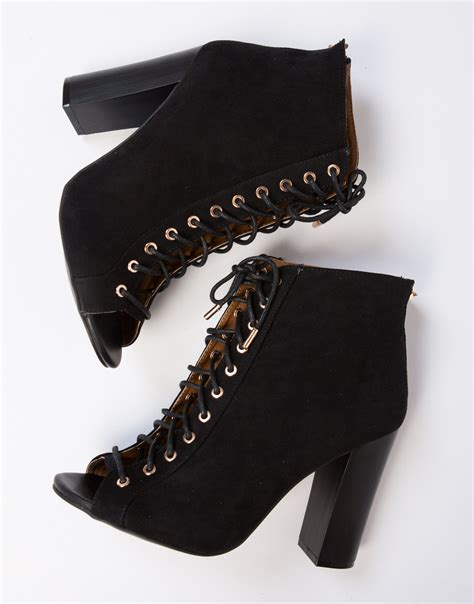 black lace up high heel booties peep toe lace up booties black lace up booties black