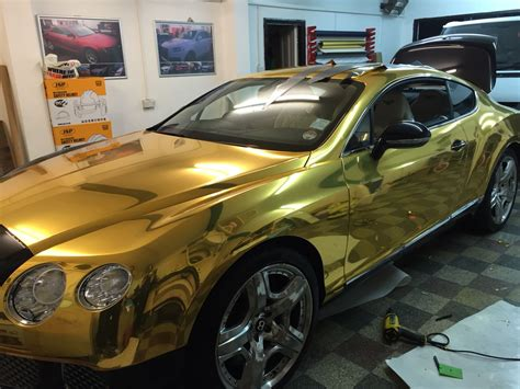 gold chrome bentley bentley gt chrome gold wrap by wrapping cars
