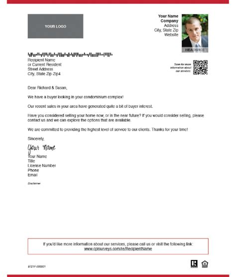 real estate marketing examples  prospecting letter
