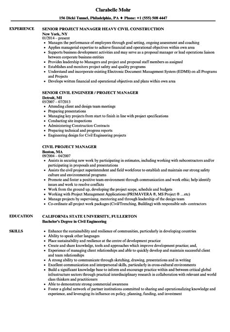 civil project engineer resume format sle cv project manager civil images certificate
