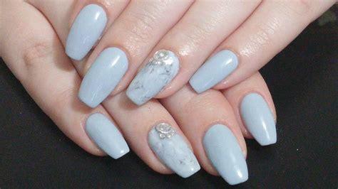 Simply Grey nail simple grey marble coffin nails gel nail