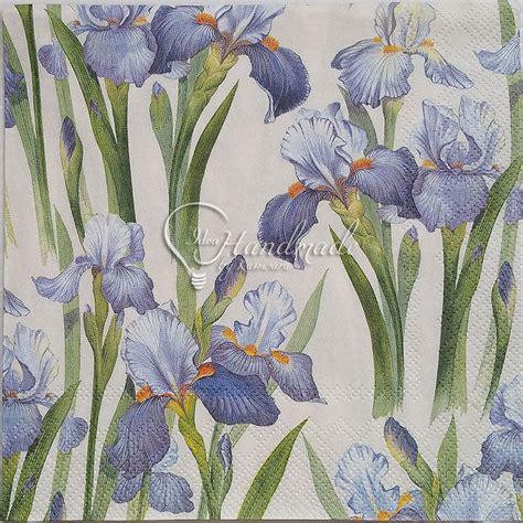 4 pcs blue iris flower napkin decoupage serviette cocktail