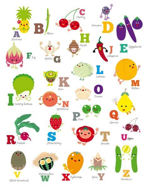printable fruit poster abc nursery kidsroom wall decor alphabet abc fruit