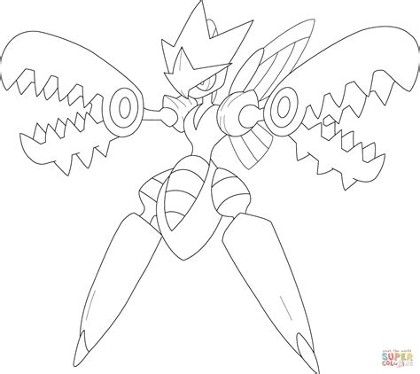 pokemon coloring pages heracross mega scizor pokemon coloring page free printable