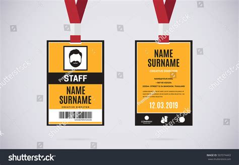 event badge template event staff id card set lanyard stock vector 507074443