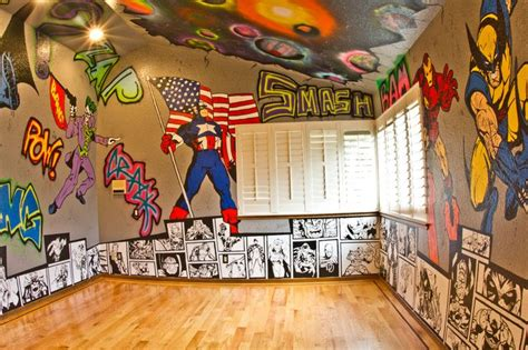room graffiti walls with marvel and dc
