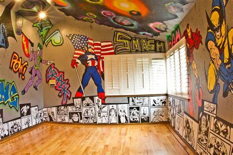 marvel bedroom superhero room graffiti walls with marvel and dc