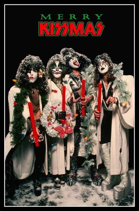 kiss band merry kissmas countertop stand  display paul peter gene ace gift posters