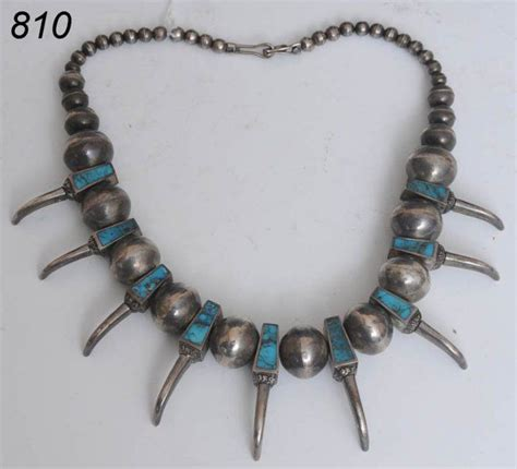 turquoise  silver necklace  bear claw desig