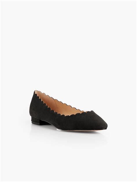 talbots shoes flats talbots edison scalloped flats suede in black lyst