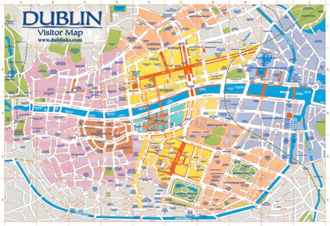 printable map dublin city centre dublin map attractions images