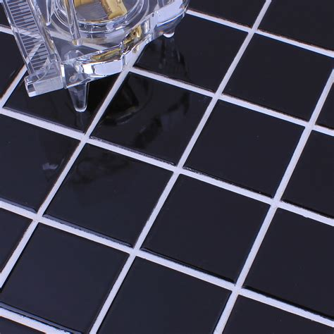 wholesale glazed porcelain brick tile mosaic black square surface art tiles floor bathroom