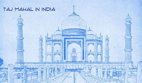 Blogs On Home Decor India Taj Mahal In India Blueprint Drawing Digital Art By