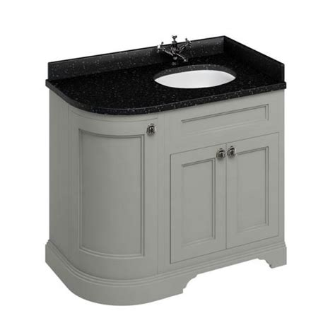 Curved Vanity Unit by Burlington Olive 1000mm Curved Vanity Unit With Doors