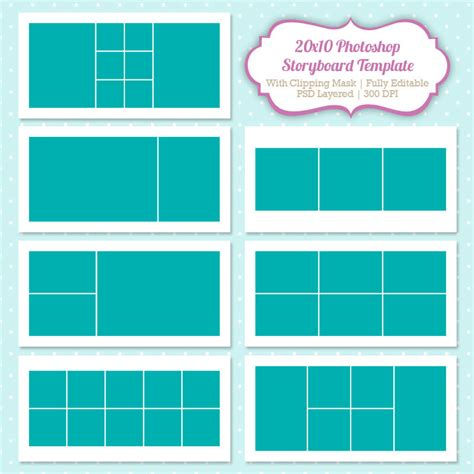 instant download storyboard photoshop templates by