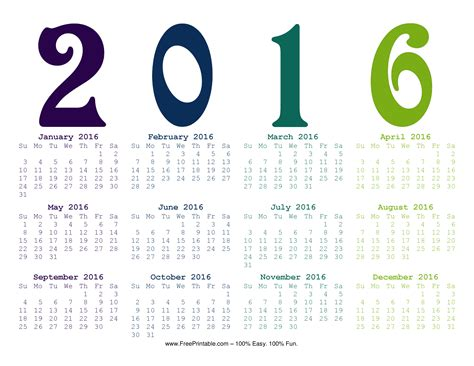 printable calendar year at a glance 2016 customize your free printable year at a glance 2016 calendar