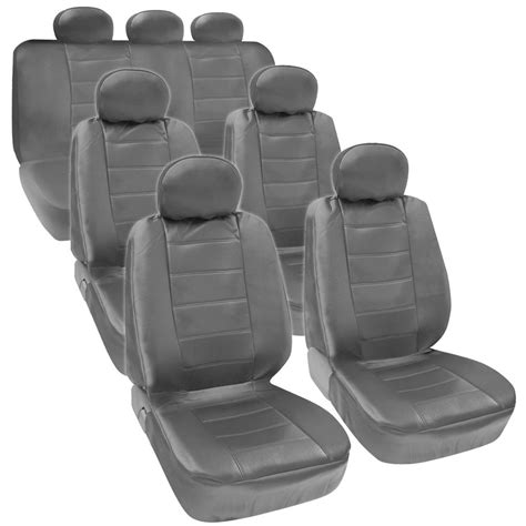 rear seat covers for suv gray pu leather 3 row seat covers for suv airbag safe