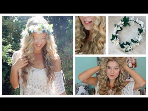 taylor swift short hair tutorial taylor swift curly hair tutorial diy flower crown youtube