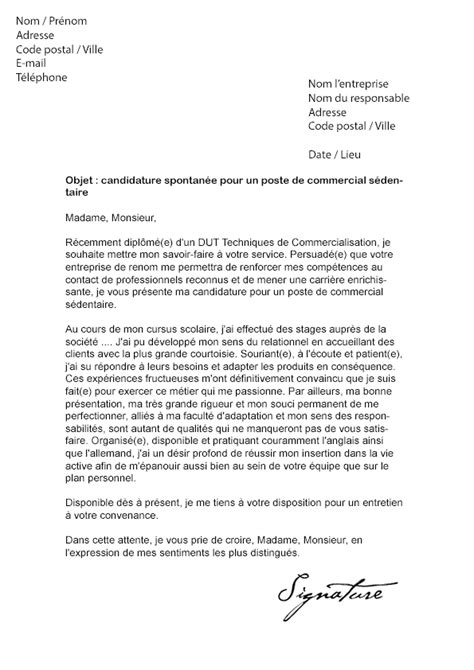 Exemple De Lettre De Motivation Commercial Lettre De Motivation Commercial S 233 Dentaire Mod 232 Le De Lettre