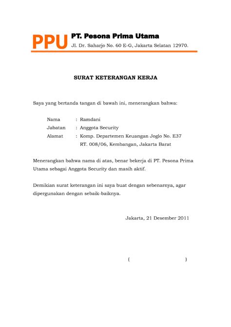 Contoh Surat Pemindahan Jabatan by Surat Keterangan Kerja Surat Referensi Kerja