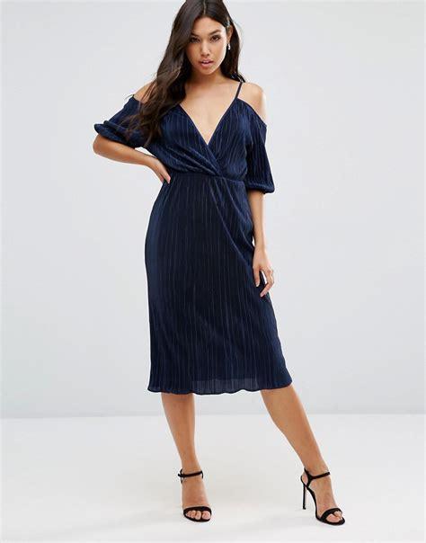 Shoulder Pleated Dress asos asos cold shoulder plisse pleated midi dress at asos