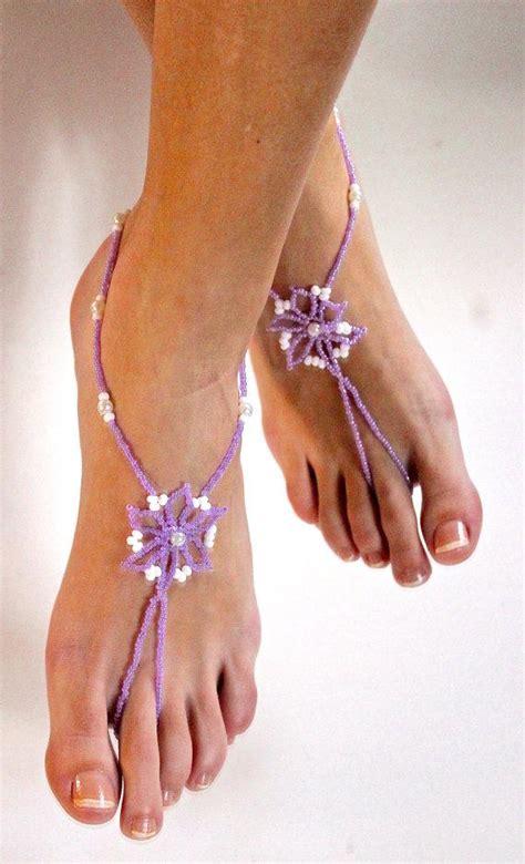 light purple wedding shoes lilac violet light purple flower pearls barefoot sandals