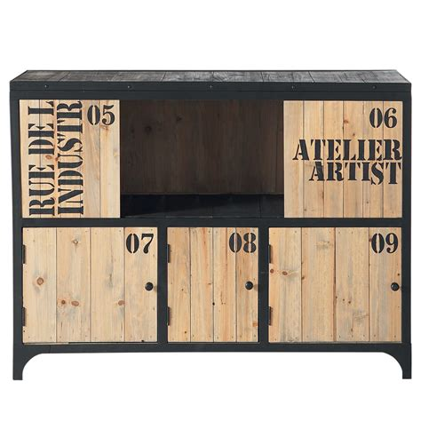 Buffet En Metal by Buffet En M 233 Tal Noir L 110 Cm Docks Maisons Du Monde
