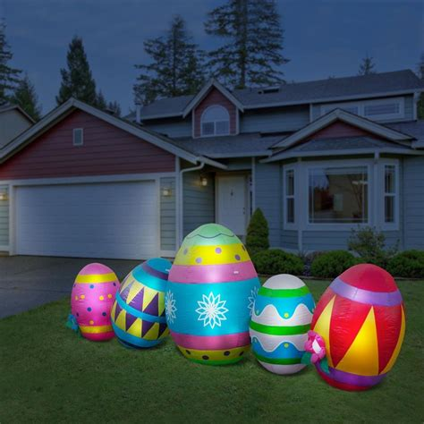 Inflatable easter eggs led lighted 10 w yard easter decorations lawn ornament ebay