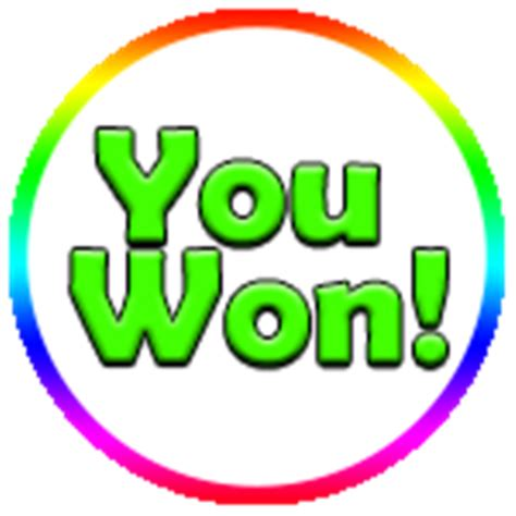 you won! roblox